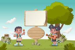 Cartoon children playing music Royalty Free Stock Image