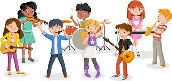 Free Cartoon Children Playing On A Rock`n`roll Band Stock Images - 134763854