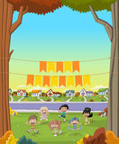 Cartoon children playing. Sports and toys. Royalty Free Stock Photo