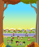 Cartoon children playing. Sports and toys. Stock Photos