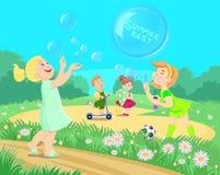 Cartoon children playing on the street. Summer vacation. Vector illustration royalty free illustration