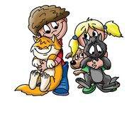 Cartoon children playing with their pets vector illustration stock illustration