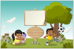Cartoon children playing. Wooden sign on colorful park with cartoon children playing stock illustration