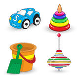Cartoon children's toys set, whirligig, pail and shovel, car, pyramid. Vector illustration Royalty Free Stock Image