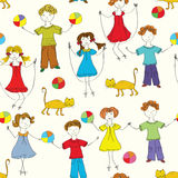 Cartoon children seamless pattern Royalty Free Stock Photos
