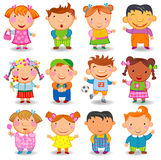 Cartoon children. Set of cartoon kids different nations, vector illustration Royalty Free Stock Photos