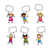Cartoon children with signs Stock Images
