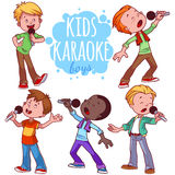 Cartoon children sing with a microphone. Royalty Free Stock Image