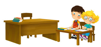 Cartoon children sitting - learning - illustration for the children XXL Royalty Free Stock Photography