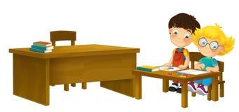 Cartoon children sitting - learning - illustration for the children XXL stock illustration