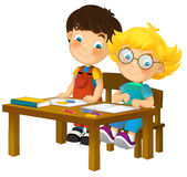 Cartoon children sitting - learning - illustration for the children XXL Royalty Free Stock Photos
