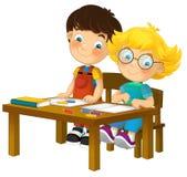 Cartoon children sitting - learning - illustration for the children XXL Royalty Free Stock Photos