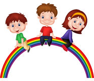 Cartoon children sitting on rainbow Royalty Free Stock Photography