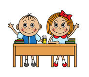 Cartoon children sitting at school desk Royalty Free Stock Image