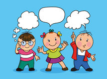 Cartoon children with speech bubbles. Hand drawing illustration. Cartoon children with speech bubbles vector illustration