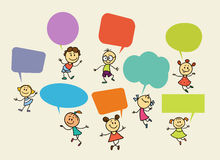 Cartoon children with speech bubbles. Hand drawing illustration. Cartoon children with speech bubbles royalty free illustration