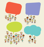 Cartoon children with speech bubbles. Hand drawing vector illustration. Cartoon children with speech bubbles stock illustration