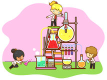 Cartoon children are studying chemistry Stock Photos