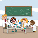 Cartoon children are studying and working in the laboratory, cre Stock Photography