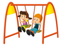 Cartoon children on the swing Royalty Free Stock Images