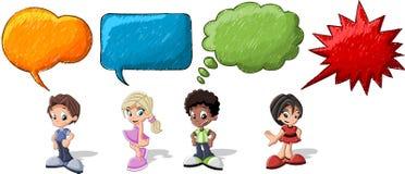 Cartoon children talking royalty free illustration