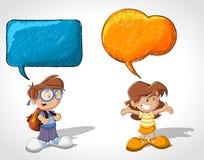 Cartoon children talking. With speech balloon Stock Photo