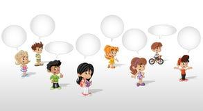 Cartoon children talking. With speech balloon Stock Image