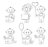 Cartoon children with toys, outline. Set Cartoon Children with Toys, Balloons and Signs, Black Contour on White Background. Vector Royalty Free Stock Photo