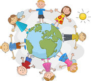 Cartoon children world over Stock Images