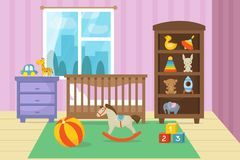 Cartoon childrens room interior with kid toys vector illustration. Bedroom child, playroom cartoon with bed and toys Royalty Free Stock Photography