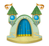 Cartoon childrens stage. Colored cartoon children's stage with two towers and clocks Royalty Free Stock Photos