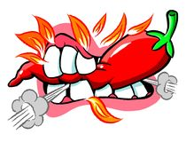 Cartoon chili pepper. Cartoon caricature of mouth biting into red hot chili pepper Royalty Free Stock Image