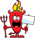 Cartoon Chili Pepper Devil Sign Royalty Free Stock Photo