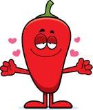 Cartoon Chili Pepper Hug Stock Image