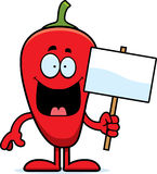 Cartoon Chili Pepper Sign Stock Photo