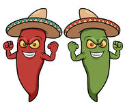 Cartoon chili peppers wearing sombreros Stock Photos