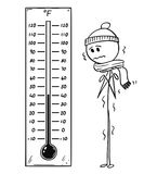 Cartoon of Chilled Man Looking at Big Fahrenheit Thermometer Showing Low Temperature. Cartoon stick drawing conceptual illustration of chilled man looking at big royalty free illustration