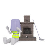 Cartoon Chimney Sweep on Floor with Bucket on Head Royalty Free Stock Images