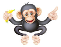 Cartoon Chimp with Banana Pointing Stock Image