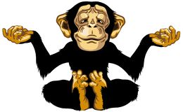 Cartoon Chimp In Meditation Royalty Free Stock Images