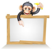 Cartoon Chimp Monkey Sign Royalty Free Stock Photos