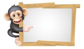 Cartoon Chimp Sign Stock Photos