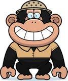 Cartoon Chimpanzee Safari. A cartoon illustration of a chimpanzee in a safari outfit and pith Stock Photos