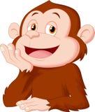 Cartoon chimpanzee thinking Stock Photography