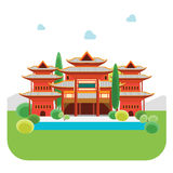 Cartoon China Building. Vector Royalty Free Stock Photography