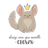 Cartoon chinchilla with crown Royalty Free Stock Photo