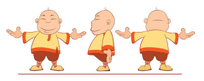 Cartoon of a Chinese Boy for a Computer Game Stock Images