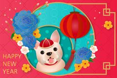 Cartoon chinese dog year vector illustration
