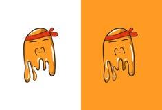 Cartoon Chinese Emoji in Ghost Style. Stock Image