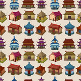 Cartoon Chinese house seamless pattern Stock Photography